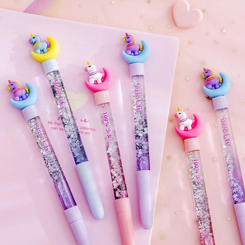 Cute Cartoon Moon Unicorn Gel Pen Black Ink Writting Pens Canetas Material Escolar Kawaii Staitonery Paperlaria School Supplies