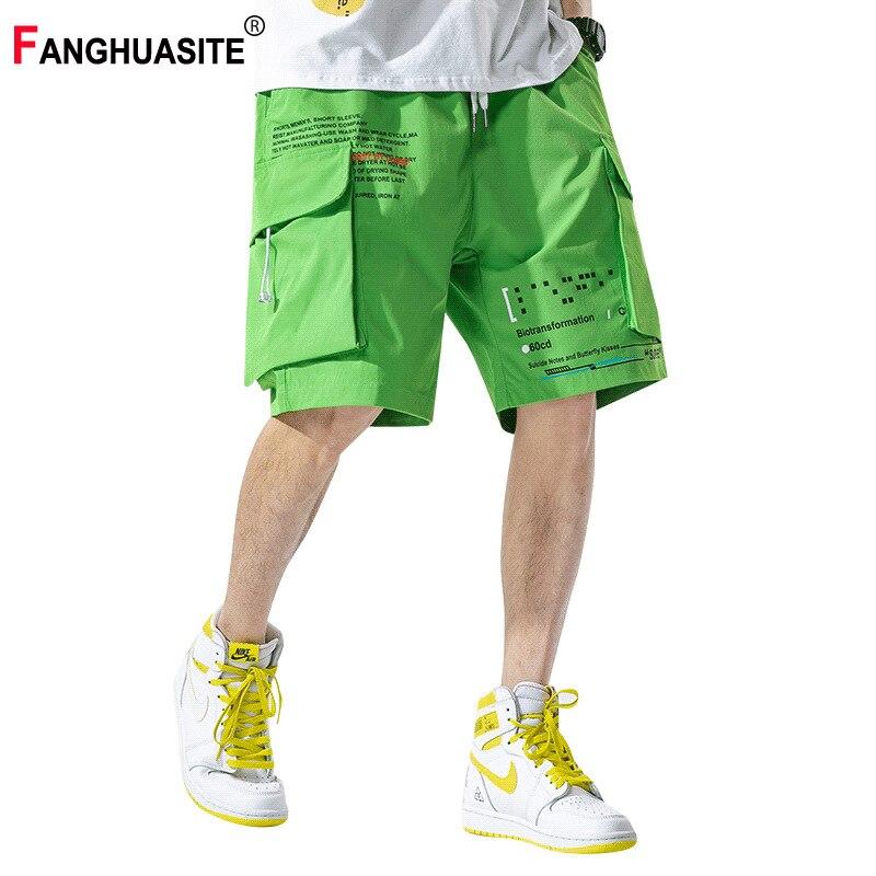 Men's Summer Cargo Pants Refreshing Elastic Waist Loose Knee Length Pants Multi-Pocket Letter Printed Casual Shorts Male KX302
