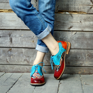 Image 3 - Women Genuine leather brogue casual designer vintage Retro lady flats shoes handmade oxford shoes for women blue 2020 spring