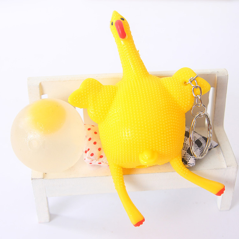 Novelty Extrusion Toy Hen Lay Egg Key Chain Ornaments Stress Relief Venting Anger FJ88