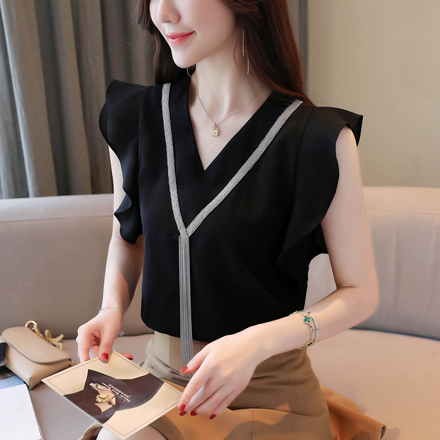 Blouse Women Blusas Mujer De Moda 2021 Tassel V-neck Chiffon Blouse Shirt Women Tops Summer Short Sleeve Blouse Tops Shirts D190 3