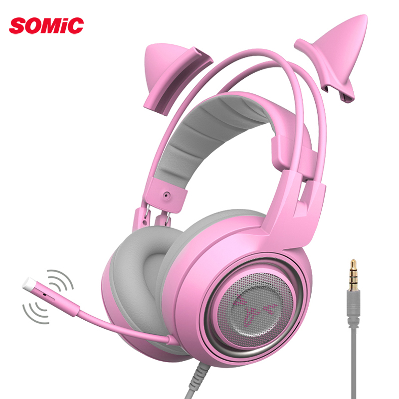 SOMIC G951S Pink Cat <font><b>Headphones</b></font> Noise Cancelling Wired Gaming Headset Vibration 3.5mm Headset with Mic for PC