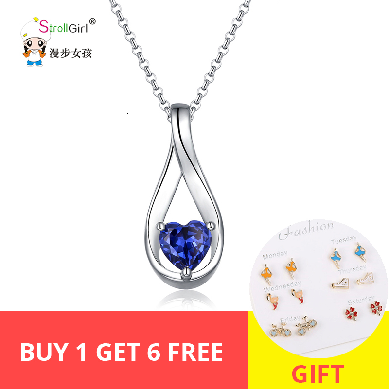 StrollGirl 100%925 sterling silver custom Mobius heart-shaped birthstone DIY pendant necklace Valentine's Day gift free shipping