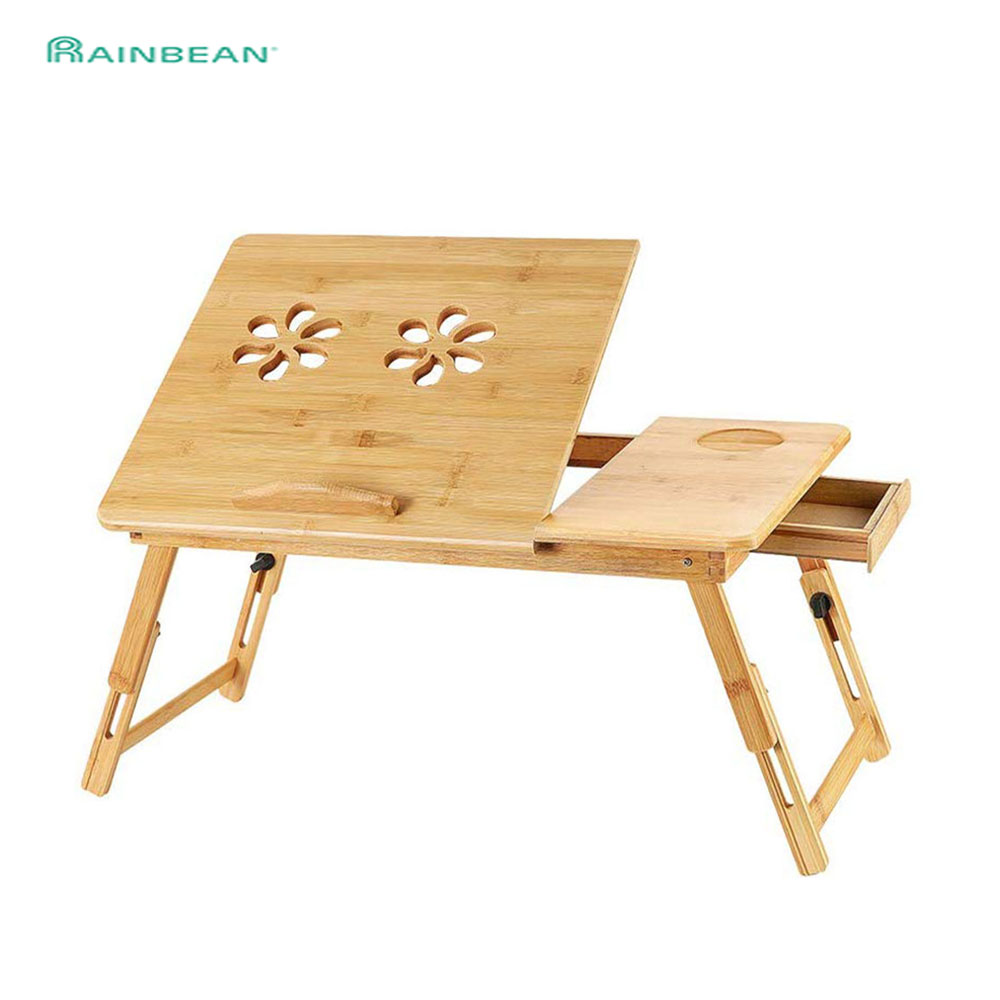 Bamboo Laptop Desk Adjustable Breakfast Tray With Drawer Portable Foldable Bed Serving Tray Table Holder For Eating Working