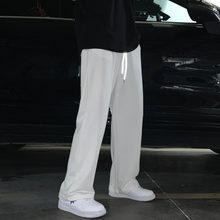 Été Mince Pantalons Décontractés Pour Hommes mode Gris Noir Blanc Large pantalon Hommes Streetwear Droite Ample pantalon de Jogging Pour Hommes