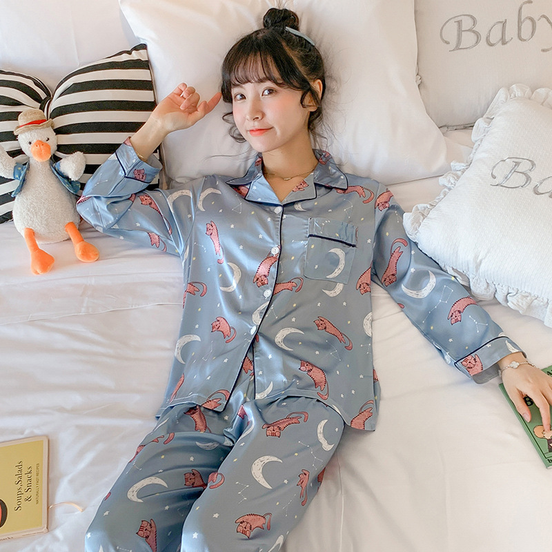 Viscose Pajamas Women's Spring And Autumn Long Sleeve Thin Two-Piece Set Students Silk Cute Moon Outer Wear Tracksuit