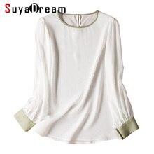 Женская однотонная шелковая блуза из натурального шелка, однотонная Офисная Женская рубашка с длинными рукавами и контрастным воротником, белые блузки, осенне-зимняя рубашка