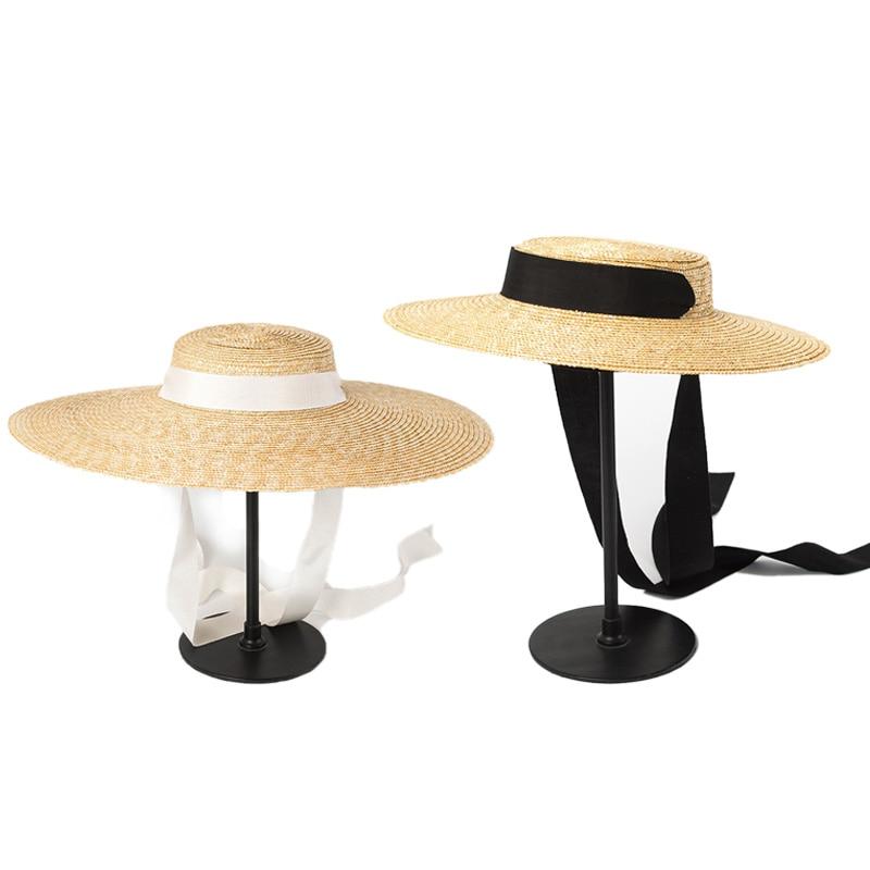 Wide Brim Boater Hat 15Cm Brim Straw Hat Flat Women Kentucky Derby Hat Ribbon Tie Sun Hat Beach Cap