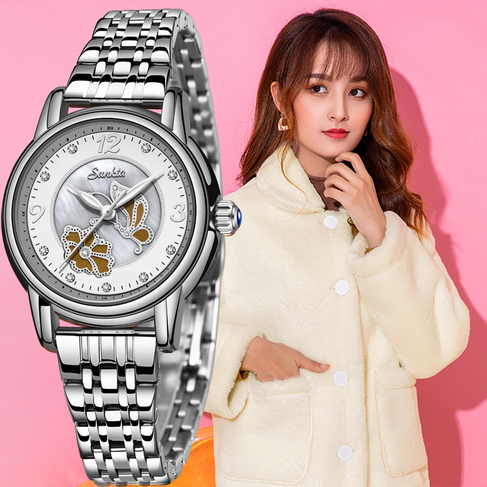 Montre Femme SUNKTA Lady Rhinestone Fashion Watch Women Quartz Watch Women's Wrist Watches Female Dress Clock Relogio Feminino