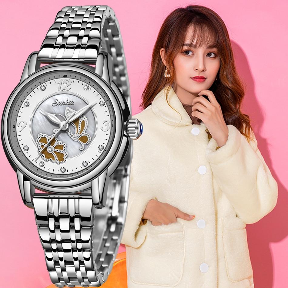 Montre Femme SUNKTA Lady Rhinestone Fashion Watch Women Quartz Watch Women's Wrist Watches Female Dress Clock Relogio Feminino