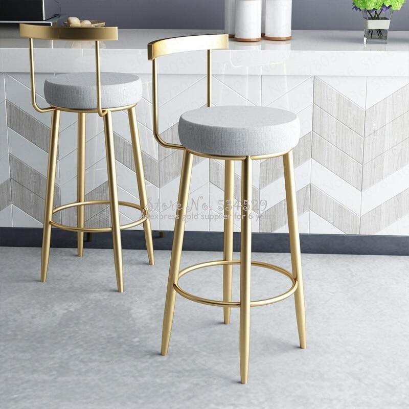 5%Nordic Bar Stools Cashier Stools Back Bar Stools Home Simple High Chair Fashion Casual Creative