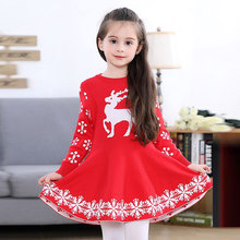 2020 New Year Christmas Cosplay Girl Red Long Sleeve Sweater Dress Kids Clothes Winter Warm Girls Skirt Christmas Children Deer christmas dress bland 2017 new kids sweater dress spring autumn winter girls long warm fashion princess toddler girl clothes