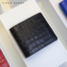 Hiram Beron Personalized FREE Italian crocodile pattern leather wallet