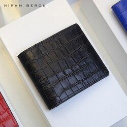 Hiram Beron Personalized FREE Italian crocodile pattern leather wallet men luxury product gift box dropship