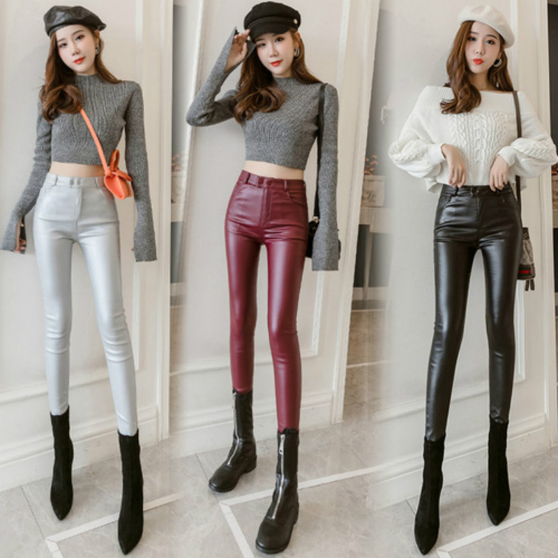 Women Thin Velvet PU Leather Pants 2019 Autumn Winter Female Elastic Stretch Skinny Faux Leather Pencil Pants Tight Sexy Trouser