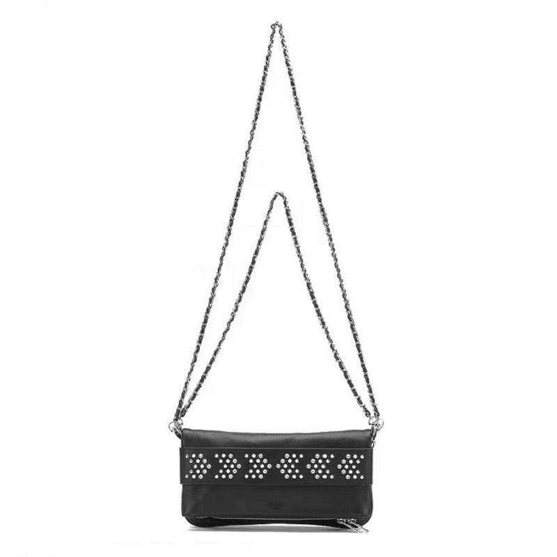 Fashion Bag Personality Wings Rivet Decorated Chain Messenger Bag Black Clutch Women Handbag Real Leather Single Shoulder Bag