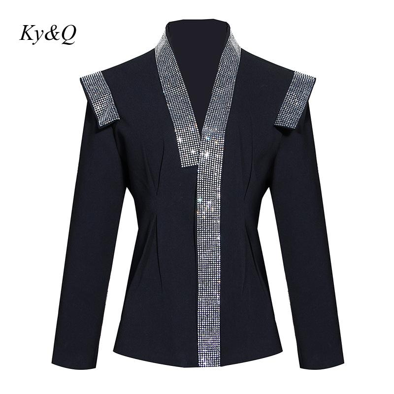 High Quality 2020 Spring New Women Striped Beading Luxury Jacket Pad Shoulder Fashion Office Ladies Long-sleeved Coat Clothes