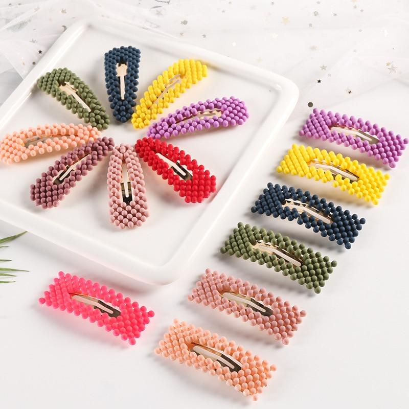 Fashion Pearl Neon Color Hair Clip Women Elegant Girls Snap Barrette Stick Hairpin Hair Styling Accessories Hair Pins