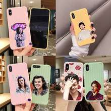 Harry Styles one direction walizka tekstura etui na telefon IPhone 11 Pro Max X XS MAX 8 7 6S Plus słodkie cukierki kolor obudowy(China)