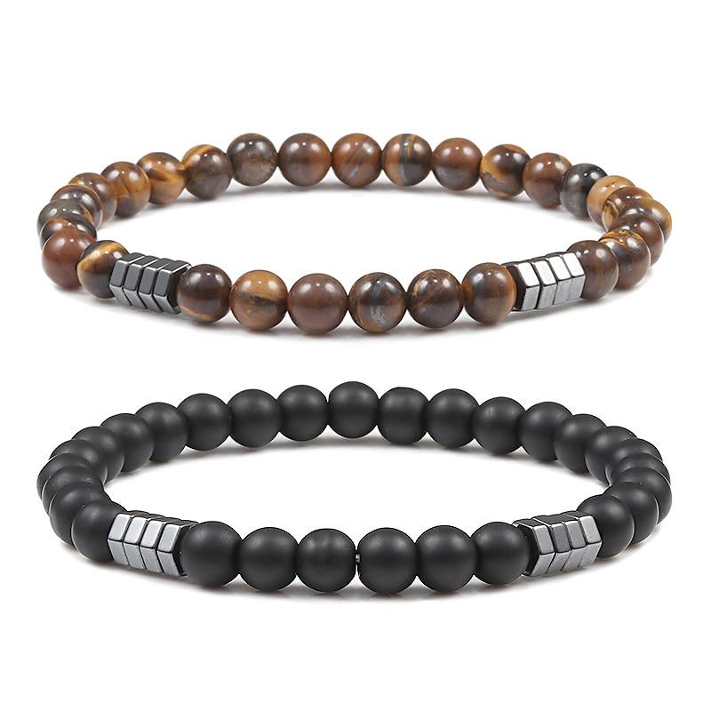 Браслет мужской геометрический, минималистичные бусины 6 мм, натуральная лава, тигровый глаз, камень, шармы, дистанционные браслеты для мужч...