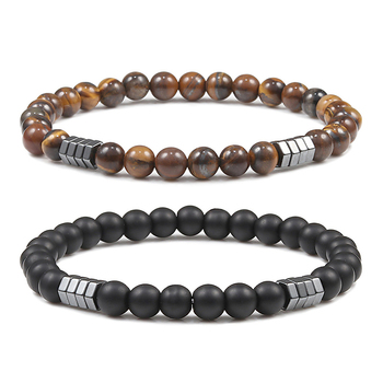 Geometric Men Bracelet Minimalist 6mm Beads Natural Lava Tiger Eye Stone Charm Distance Bracelets Homme Fashion Jewelry Gifts