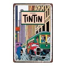 Tintin Cartoon Metal  Signs Plaque Vintage Wall Pub Kids Room Home Art Party Decor Iron Poster Cuadros DU2982