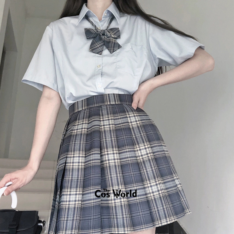 [Bask In The Sea] Girl's Summer High Waist Pleated Skirts Plaid Skirts Women Dress For JK School Uniform Students Cloths