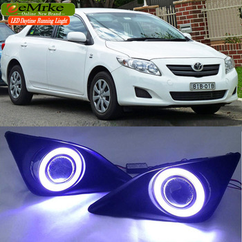 eeMrke Led Angel Eyes DRL For Toyota Corolla 2007 2008 2009 2010 Fog Lights H11 Halogen Daytime Running Lights Kits