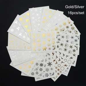 Image 5 - 16pc/set Winter Xmas Stickers For Nails Gold Silver Christmas Snowflake Water Transfer Decal Slider Manicure Decoration BESTZ YA