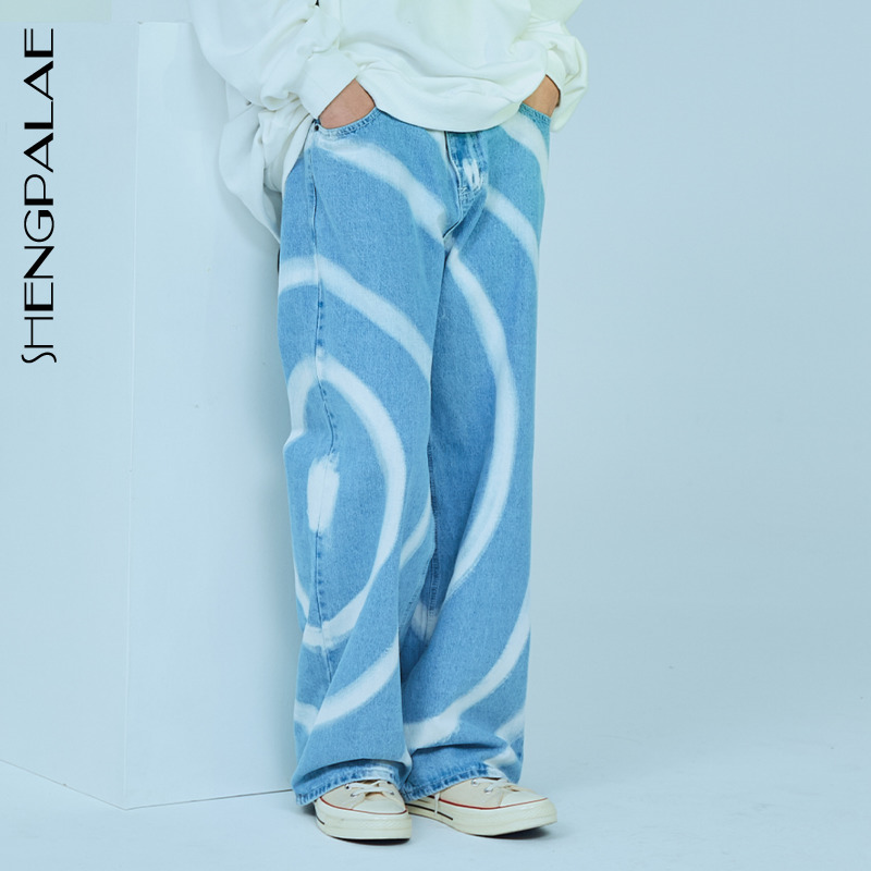 SHENGPALAE 2020 New Summer Vintage Jeans Woman Long Trousers Cowboy Female Loose Streetwear Design Print Jeans ZA3929