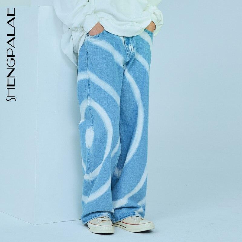 SHENGPALAE 2020 New Summer Vintage Jeans Woman Long Trousers Cowboy Female Loose Streetwear Design Print Jeans ZA3929