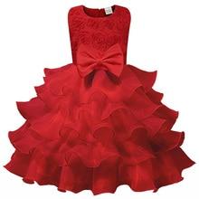 Новое платье для девочки, элегантное рождественское платье принцессы, платье для девочки с розой, платье для свадебной вечеринки без рукаво...