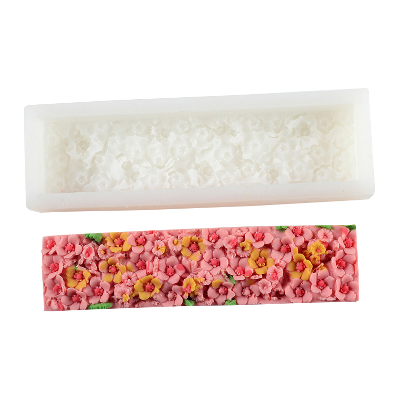 Flower Silicone Soap Mold Rectangular With Embossed Loaf Soaps Mould