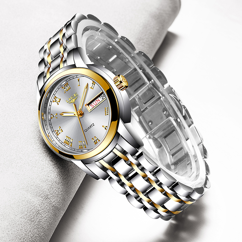 LIGE 2020 New Gold Watch Women Watches Ladies Creative Steel Women's Bracelet Watches Female Waterproof Clock Relogio Feminino|Women's Watches| - AliExpress
