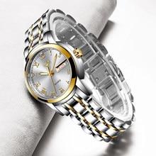 LIGE – Montre dorée avec bracelet en acier étanche pour femme, nouvelle collection 2020, créatif