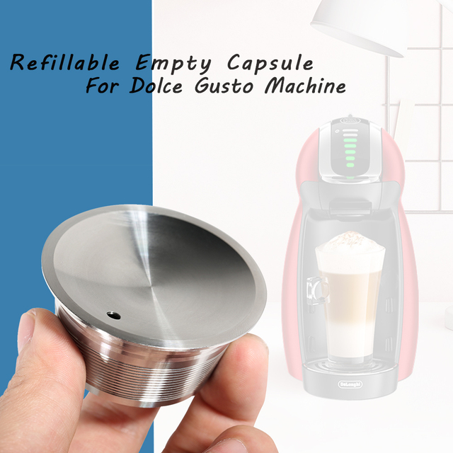 Reusableแค็ปซูลสำหรับDolce Gusto RefillableโลหะDolce Gusto Pod CupStainlessเหล็กDolce Gustoกรองตะกร้าแคปซูลDripper