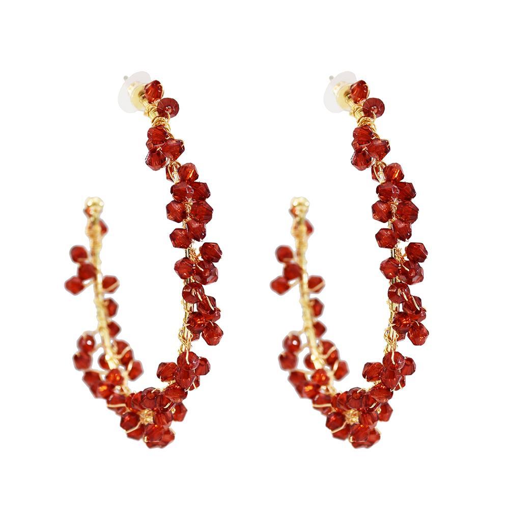 Trendy Colorful Crystal Beads Hoop Earrings Big Round Circle Hoop Earrings Brincos Celebrity Brand Loop Earrings For Women Jewel