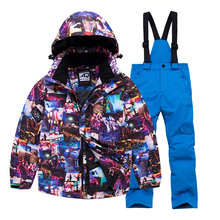 Kids Ski Suit Children Waterproof Warm Girls And Boy Snow Jacket And Pants Winter Skiing And Snowboarding Clothes Set Child cheap Polyester Hooded Fits true to size take your normal size 1802 Jackets Breathable Windproof Ski Wear Windproof And Waterproof
