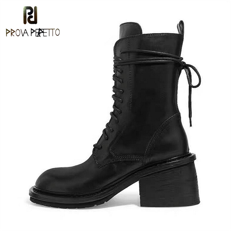 Black Genuine Leather Women Boots Chunky Heels Ankle Botas Mujer Lace-up Ladies Short Booties Zipper Side Cowboy Boots