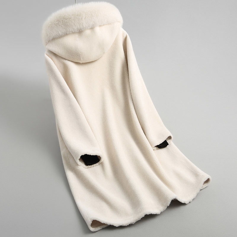 Shearling Sheep Women Jacket Real Wool Fur Coat Female 2020 Warm Winter Coats Natural Fox Fur Collar Hooded 18112 YQ1928 S