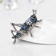 Grasshopper Brooch Classical Insect sapphire Rhinestone Boutonniere Clothes Decor Ancient Silver AL243-A