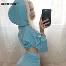 XUANSHOW 2019 Chandal Mujer 2 Piezas Tracksuit ผู้หญิง Crop TOP Hooded Sweatshirt + กางเกง 2 ชิ้นชุด Chandal Mujer วิ่ง femme(China)