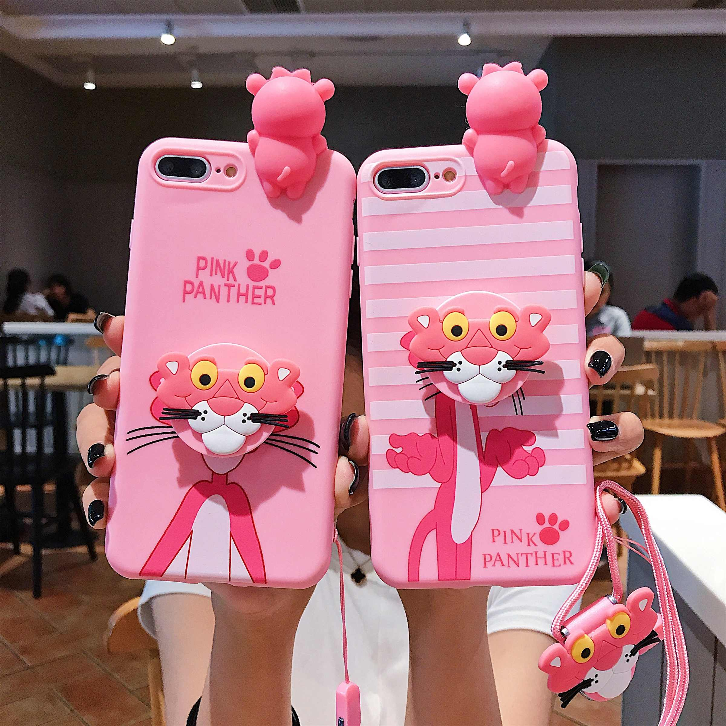 Matte Tpu Kartun Pink Panther dengan Lanyard Mobile Phone Case Cover untuk Apple Iphone 11 X XR X Max 6S 6 7 8 PLUS Capa