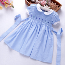 summer girls dresses plain smocked hand made kids d