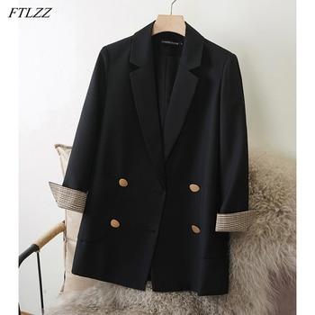 FTLZZ Spring Autumn Office Lady Loose Blazer Long Sleeve Plaid Splicing Design Blazer Coat Double-breasted British Style Jacket 1