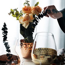 Nordic Europe Electroplated Gold Foil Vase Glass Flower Vases Dried Bottle Home decor room Decoration accessories