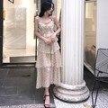 Женское шифоновое платье средней длины, элегантное платье в горошек с оборками на подтяжках, весна 2021