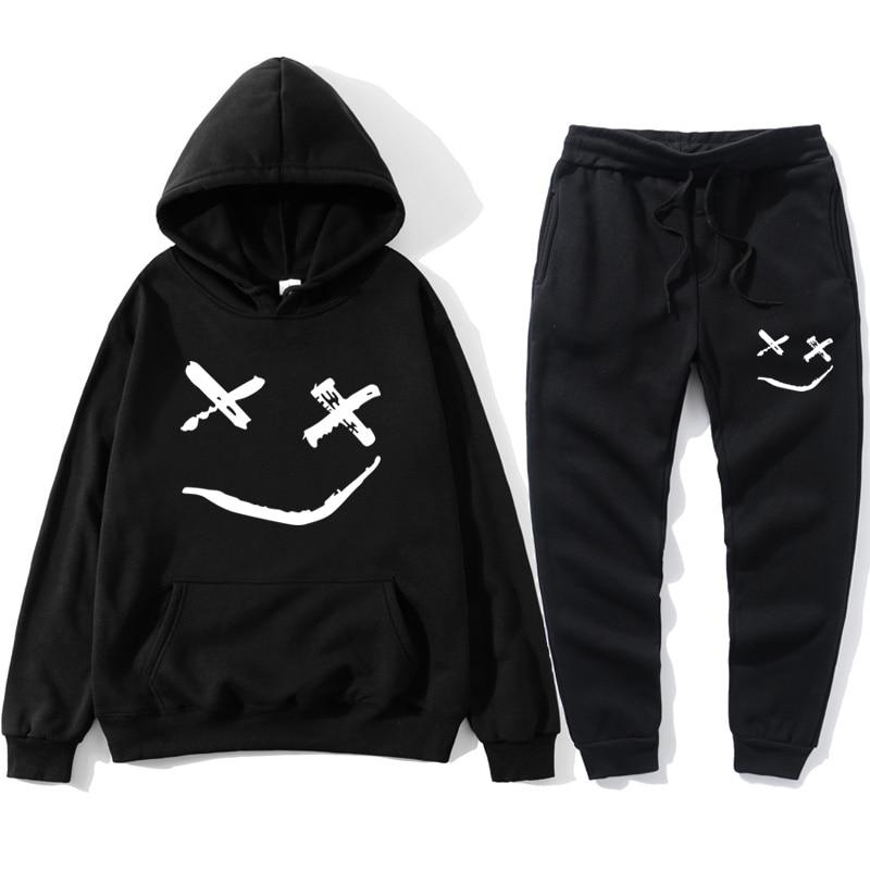Tracksuit Men Smile Hoodies+pants 2019 Hip Hop Casual Men Print Oversized Sweatshirts Unisex Couple Streetwear Joggers Tuta Uomo