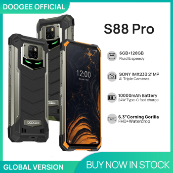 IP68/IP69K DOOGEE S88 Pro Rugged Mobile Phone 10000mAh telephones Helio P70 Octa Core 6GB RAM 128GB ROM smartphone Android 10 OS 1