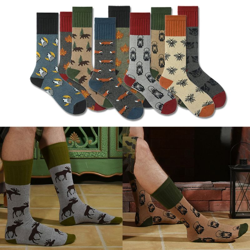Mens Autumn Funny Interesting Animal Cotton Socks Contrast Color Harajuku Fox Elk  Maple Leaf Printed Sports Over Calf Long
